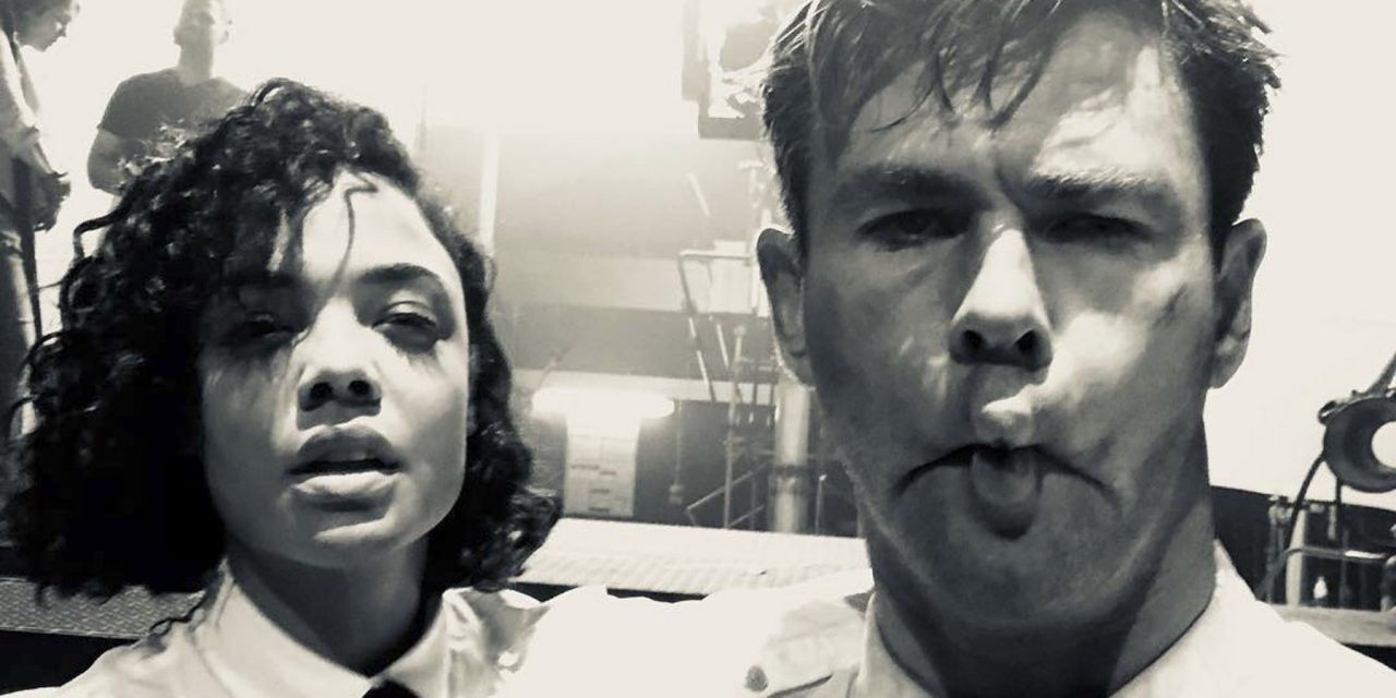 Chris Hemsworth and Tessa Thompson Get Silly in a First Look on the Set of Men in Black