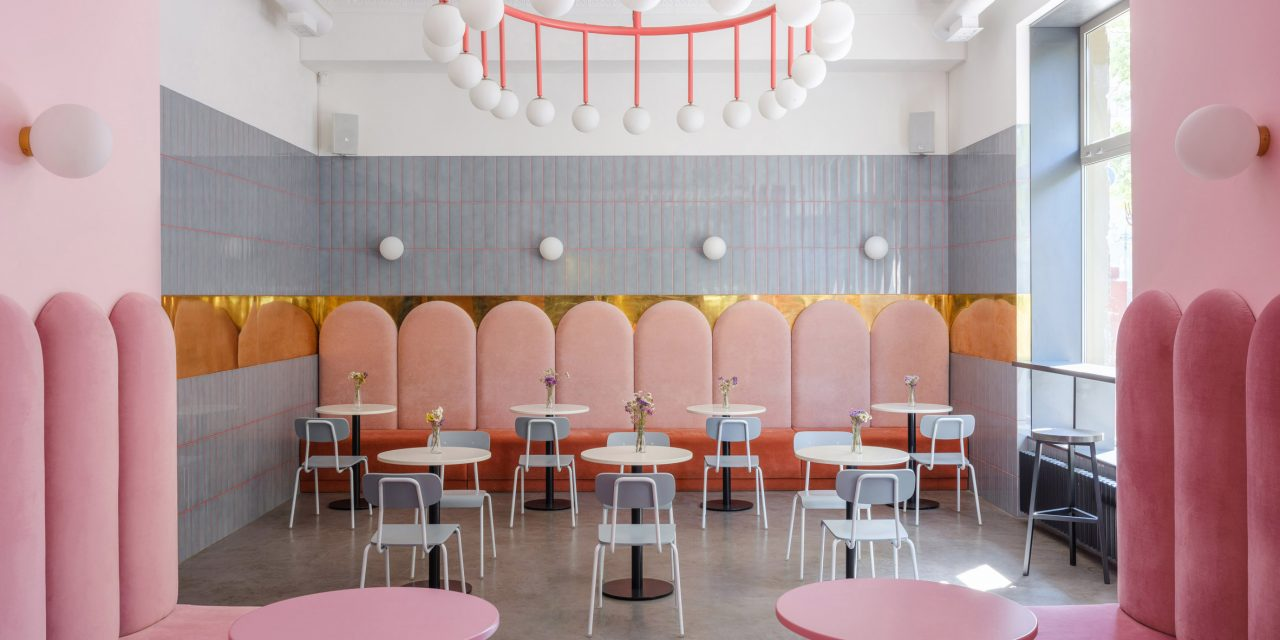 """Pink and blue enhance """"warm colour of bread"""" at Breadway in Odessa"""