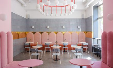 "Pink and blue enhance ""warm colour of bread"" at Breadway in Odessa"