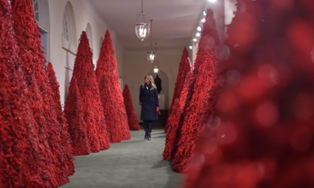 Melania's White House Christmas decorations are up, and there are blood red trees