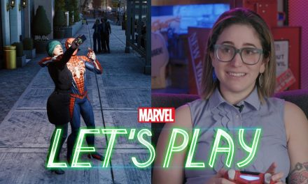 "Gaby Dunn presses the ""crime"" button in Marvel's Spider-Man for PS4"