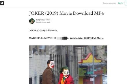 Pirates are using publishing platform Medium to distribute bootlegged movies