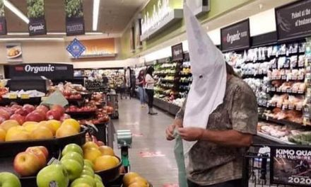 Someone wore a KKK hood as a face covering to the grocery store