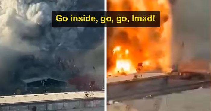 Man Doesn't Listen To Woman Who Asks To Stop Filming Beirut Warehouse Fire And Come Inside, Regrets It After It Explodes